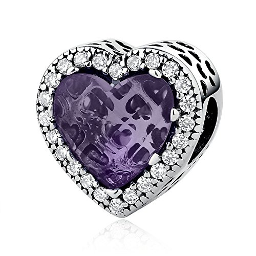 Everbling Radiant Hearts with CZ Love 925 Sterling Silver Bead Fits European Charm Bracelet (Radiant Hearts Purple CZ)