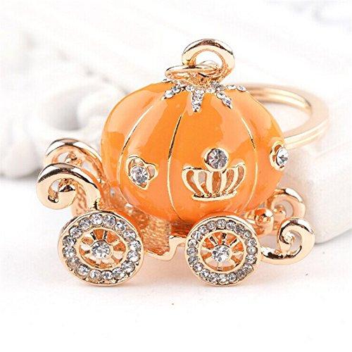 Cute Big Princess Pumpkin Carriage Crystal Charm Keychain Key Ring (Orange)
