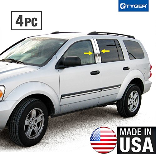 Made in USA! Works with 2004-2010 Dodge Durango 4 PC Stainless Steel Chrome Pillar Post Trim ()