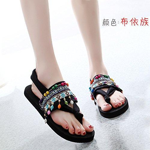 Coole Unterseite Flach Flache Sandalen Manuelle weibliche Hausschuhe Sandalen QingToo in 7q0WHnwx