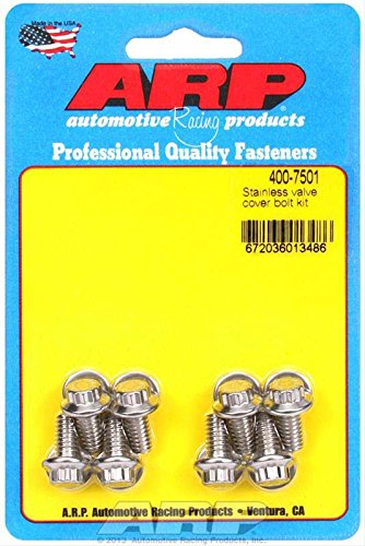 (ARP 4007501 12-Point Style Valve Cover Bolts, Polished Stainless Steel, Package Of 8, For Select Stamped Steel Covers)