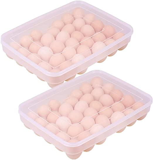 Clear mDesign Refrigerator Storage Organizer for Kitchen Stackable Egg Holder with Lid Pack of 2 Holds One Dozen Eggs