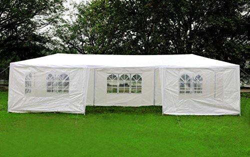 MCombo 10'x30' White Canopy Party Outdoor Gazebo Wedding Tent 7 Removable Walls 6053-W1030w-7PC by MCombo