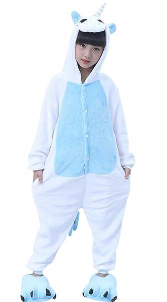 DATO Niños Ropa de Dormir Pijama Cosplay Disfraz Unicornio Azul Animal Unisexo