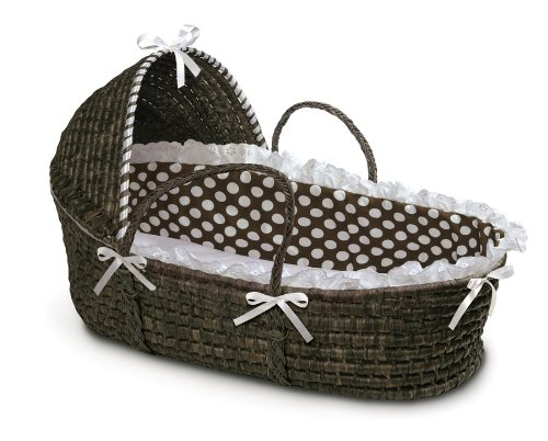 Badger Basket Moses Basket with Polka Dot Hood and Bedding, Espresso/Brown by Badger Basket