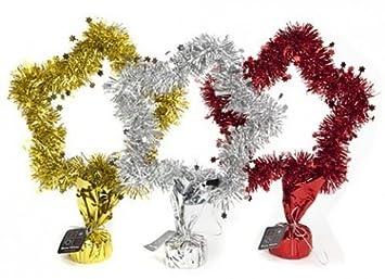 Estrella de Navidad decoración espumillón cubiertos con base y lazo dorado rojo/oro/plata: Amazon.es: Hogar
