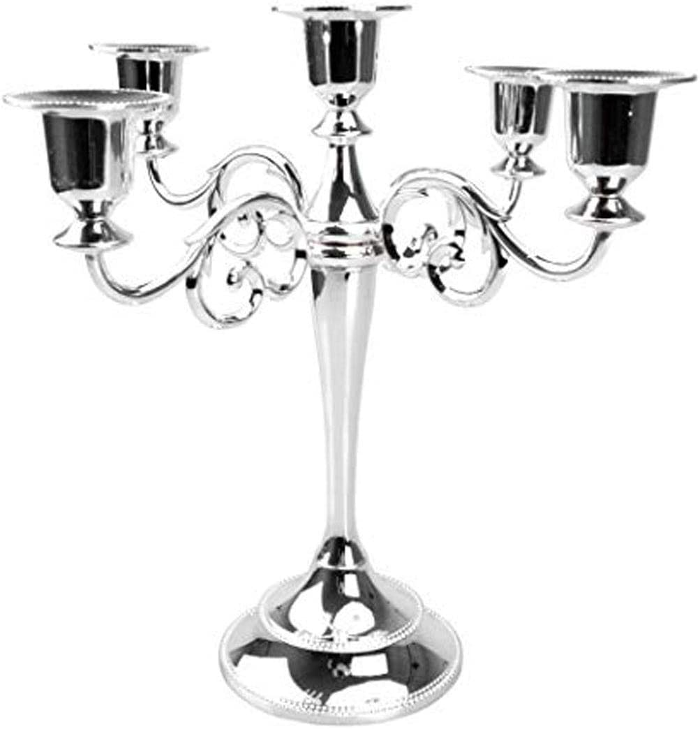 Levoberg Chandelier de Mariage Bougeoir D/écoration Table Cand/élabre Moderne 3 Branches Argent