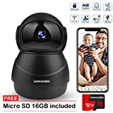 WiFi IP Indoor Camera, Include 16GB Mirco SD Card, 1080P Pan/Tilt/Zoom Home Security Camera Wireless Smart Cam HD Night Vision, Motion Tracker, Auto-Cruise, Remote Monitor for Baby/Pet/Elder