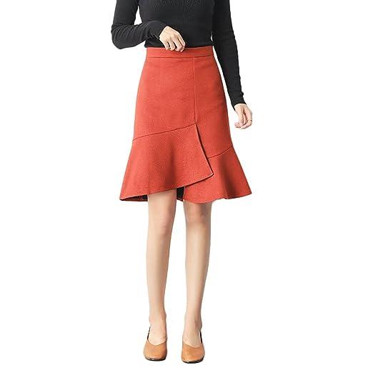 LINSYT Falda de cola de pescado irregular de cintura alta de moda ...
