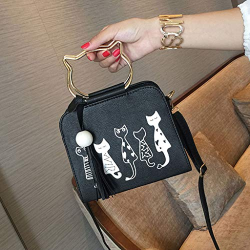 09 diseño Gato Bandolera 8 de Gris Bolso 21 46x3 Lamdoo Negro para Size 5x9x18cm Color 54x7 Mujer App Rosa YT5wx