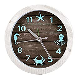Fcoson Decorative Round Ocean Theme Clock 4.72 Portable Travel Clock Creative Novelty Alarm Clock for Toddlers Kids Children
