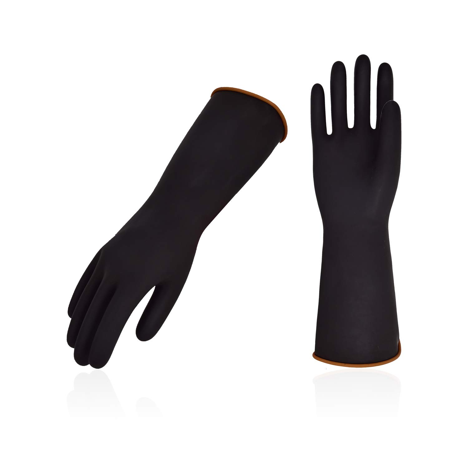 Vgo 5Pairs Heavy Duty Latex Chemical Resistant Gloves, Resist Strong Acid, Alkali and Oil(Size L,Black,ID4606)