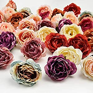 Fake flower heads in bulk wholesale for Crafts Flower Head Silk Peony Rose DIY Scrapbooking Decorative Flower Heads Decor for Home Garden Wedding Birthday Party Decoration Supplies 30PCS 4cm 120