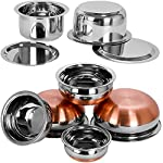 Neera Stainless Steel Tope With Lid, Handi Set, 9 Piece (Silver)