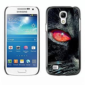All Phone Most Case / Hard PC Metal piece Shell Slim Cover Protective Case for Samsung Galaxy S4 Mini i9190 MINI VERSION! Black Cat Red Eye Chartreux Witch