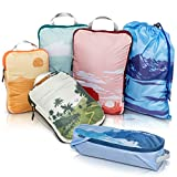 Compression Packing Cubes for Travel-Luggage and Backpack Organizer Packaging Cubes for Clothes (Graphic, 6Piece)