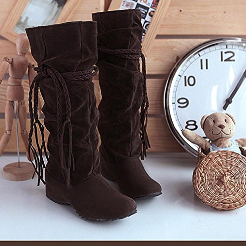 Toe Heighten casual Ladies 6 Boots Girls Women Boots 5 autumn Mid Motorcycle Round Calf Tassel Platforms by Size Flat Shoes UK 5 wind 3 Brown FqEfZ7w