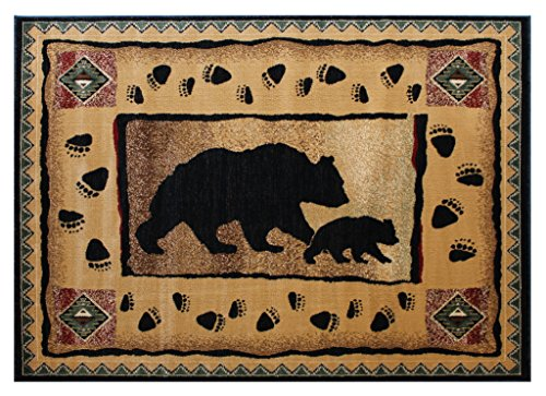 Cabin Lodge Area Rug with Bear And Cub Image (7 Feet 7 Inch X 10 Feet 6 Inch)
