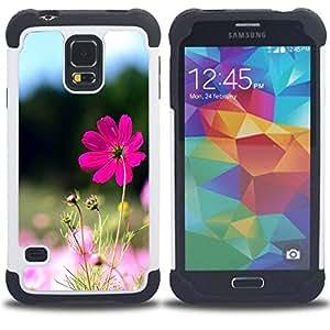 """SAMSUNG Galaxy S5 V / i9600 / SM-G900 - 3 en 1 impreso colorido de Altas Prestaciones PC Funda chaqueta Negro cubierta gel silicona suave (Purple Flower Valley"""")"""