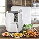 Della Electric Multipurpose Classic Rapid Air Fryer Dual Dial Temperature & Timer Controls, 5.8 QT, 1800W, White