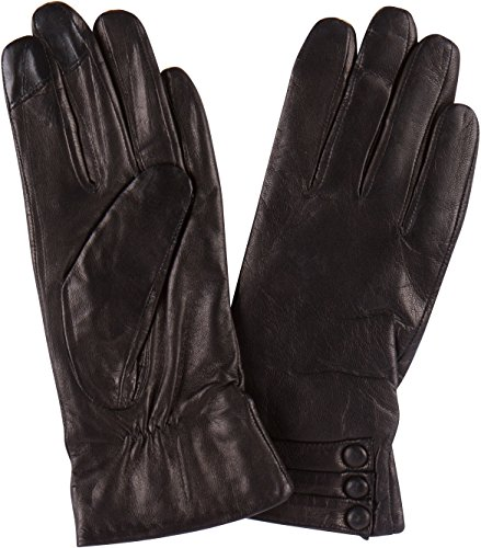 Sakkas 16172 - Syle Womens Touch Screen Real Leather Three Button Fitted Gloves - Black - XL