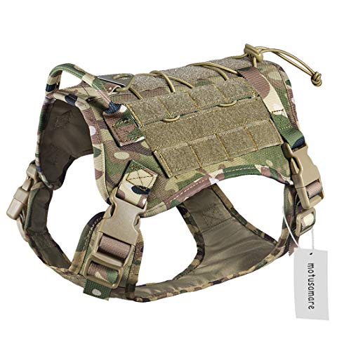 Motusamare Service Dog Vest Training Hunting Molle Nylon Water-Resistant Military Patrol Adjustable Comfortable K9 Tactical Dog Harness with Handle (Camouflage) (M, CP)