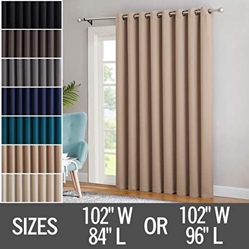 Red Co. 102×96 Taupe Thermal Blackout Curtain with Grommets – Single Panel – 102 Inches Wide – 96 Inches Long