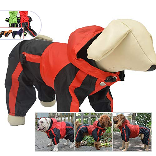 lovelonglong Pet Clothing Dog Rain Coat Waterproof Nylon Pets Raincoat Rain Jacket Adorable Hoodie Perfect For Small Dog Breed Female Male Dog Red Green Color (XS, Red)