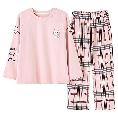 Algodón A Photo De Pijamas Rosa Cuello Tops Conjunto Camisón Mujer Color Cuadros Redondo Meixia 87IFg
