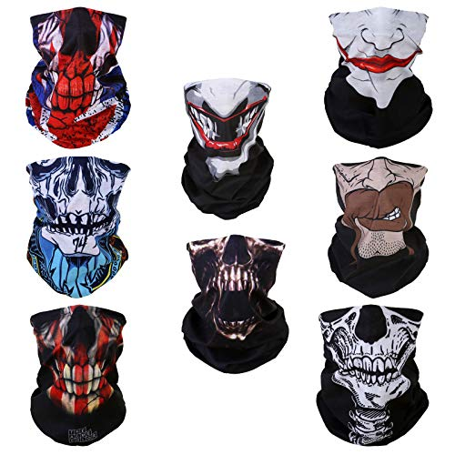 8 Halloween Skull Face Multifunctional Elastic Seamless Headwear Bandana Headband Half Face Shield Mask Scarf Neck Cover UV Sun Protection Windproof Dustproof Women Men Motorcycle Bike Airsoft Hunting -