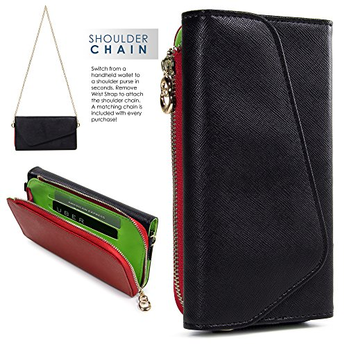 Kroo Samsung Z3, Galaxy S8 S7 S6 active S6 edge Case | Black/Red Universal Crossbody Clutch & Wristlet [Lovely Color Schemes]