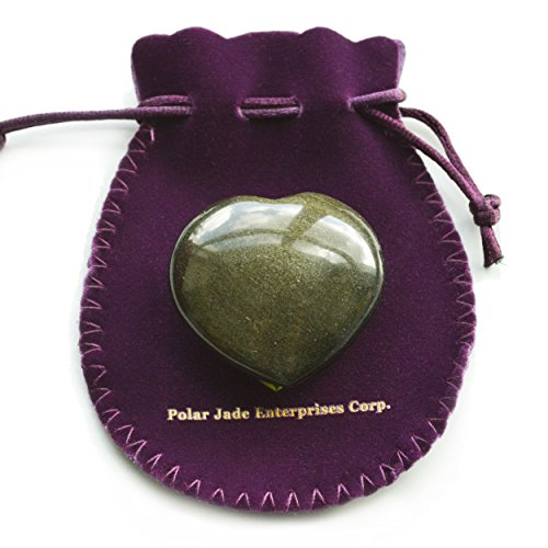 Polar Jade Puffy Heart Hand-Carved of 100% Natural Crystal Stones for Chakra Energy Healing, Meditaion, Massage and Decoration (Gold sheen - Gold Heart Carved