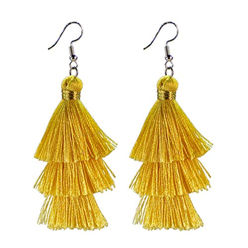 AD Beads Fashion Charm Crystal Silk Tassel 3 Layers Fan Fringe Dangle Earrings (11 ()