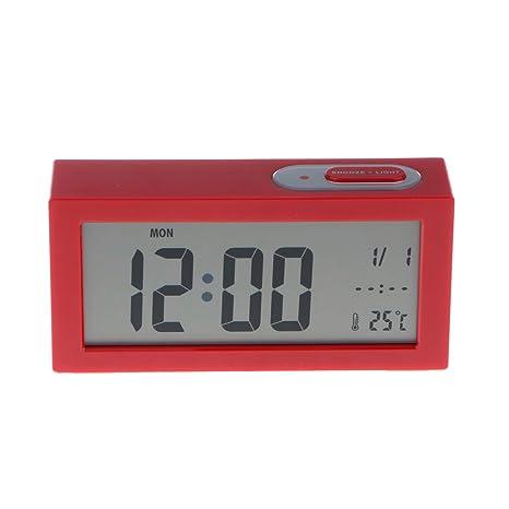 Sharplace Reloj Digital Despertador Rectangular Número Escritorio Cama Relojes Dormitorio de Niños - Rojo