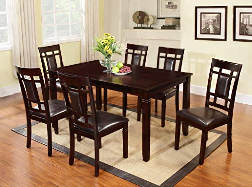 - GTU Furniture 7Pc Wooden Dark Cherry Dinette Set with Leather Cushion