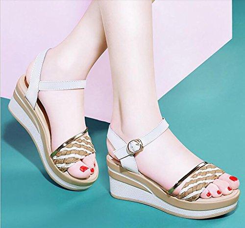 B 39 femme chaussons de FAFZ confortables Sandales nbsp; dames sandales d'été forme chaussures A Sandales Couleur taille sauvages mode plate talon sandales chaussures compensées plates de RSwnq4PrS