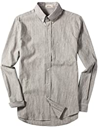Men's Casual Spread Collar Standard Fit Long Sleeve Stripe Linen Shirts Tops