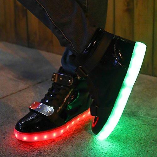Venshine Damen & Herren leuchten Schuhe High Top USB Lade LED Turnschuhe Schwarz