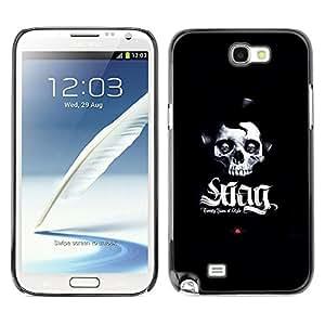 CASECO - Samsung Note 2 N7100 - SWAG Skull - Delgado Negro Plástico caso cubierta Shell Armor Funda Case Cover - SWAG cráneo