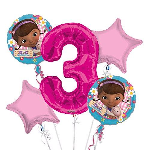 Doc McStuffins Balloon Bouquet 3rd Birthday 5 pcs - Party Supplies -