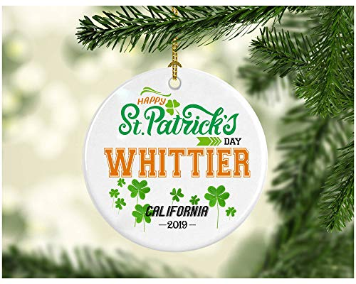 Hanging Whittier - St Patricks Day Ornaments Decorations - Personalized Hometown State - St Patricks Day Gifts Whittier California - Ceramic 3 Inches
