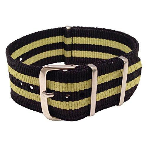 Wrist & Style NylonNATO Watch Strap (20mm, Black/Yellow/Black/Yellow/Black) by Wrist & Style (Image #2)