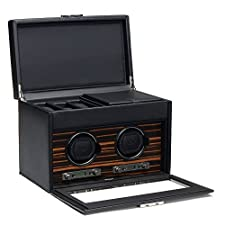 WOLF Roadster Double Watch Winder with Storage