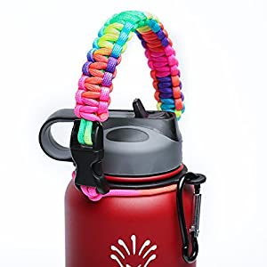 Handle/Carrier for Hydro Flask Wide Mouth Water Bottle with Security Ring,Paracord Survival Strap Handles Include Carabiner and Instructions (Color)