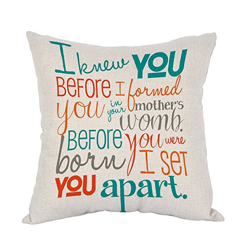 Moslion Bible Verse Pillow,Home Decor Throw Pillow Cover I Knew You In The Womb Cotton Linen Cushion for Couch/Sofa/Bedroom/Livingroom/Kitchen/Car 18 x 18 inch Square Pillow case]()