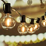 25Ft G40 Globe String Lights with Clear LED Bulbs, Energy Saving UL listed Backyard Patio Lights for Bistro Pergola Tents Market Cafe Gazebo Party Decor, Black Wire