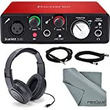Focusrite Scarlett Solo USB Audio Interface (3rd Generation) + Samson SR360 Over-Ear Dynamic Stereo Headphones, Cables and Ac