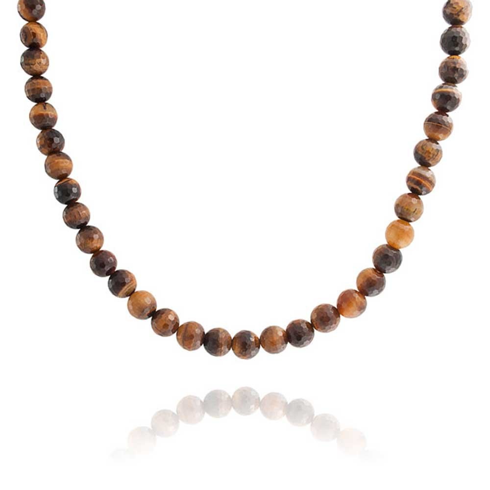 Rhodium Plated Faceted Tiger Eye Bead Toggle Clasp Necklace 18 Inches