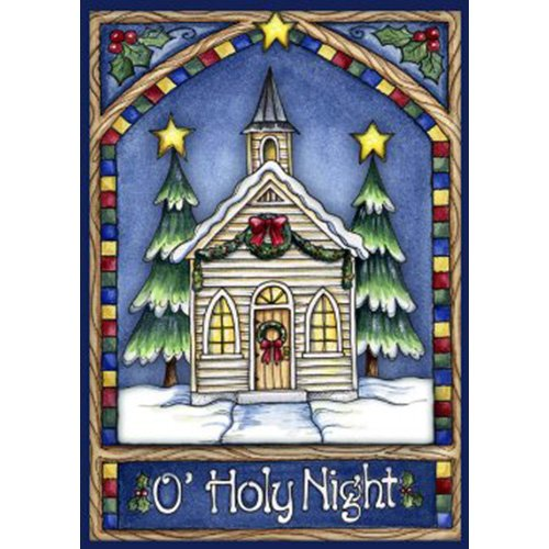 Toland Home Garden Christmas Church 28 x 40 Inch Decorative Stained Glass Holy Night Winter Snow House Flag - -