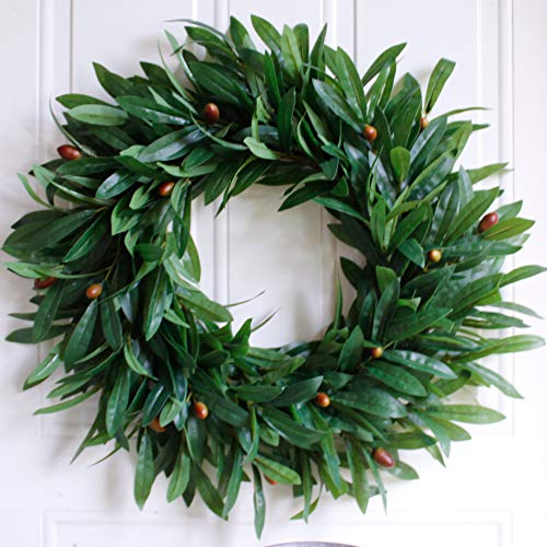 "Wreath - Nearly Real, 20"", 2 Packs, Olive Leaf, Rustic Farmhouse, Greenery Wreaths, Faux Foliage Wreath, for Front Door, Welcome, Christmas, Outdoor, Indoor- Round, Green -"